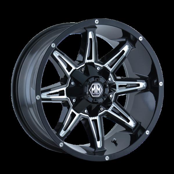 Mayheim Wheels-8090-Rampage BLACK-MILLED-SPOKES